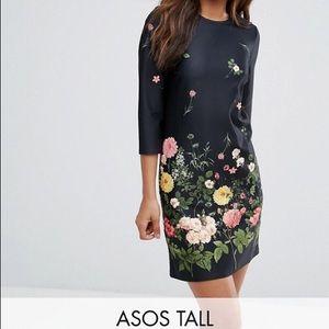 NWT ASOS Tall black floral/botanical dress. 4